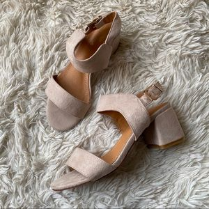 Shoes - Nude Light Pink Chunky Block Heels Sandals